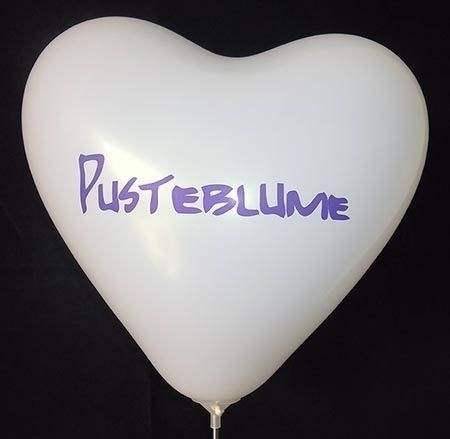 Herzballon 32cm breit Standard 1-2seitig 1farbig bedruckt - Ballonfarbe nach Auswahl mit Ihrem Wunschaufdruck, Typ H032T, Stutzen unten.