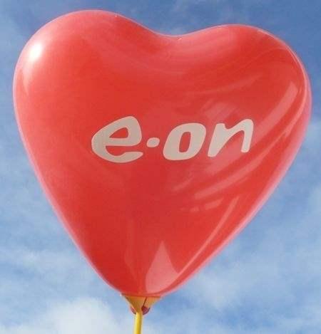 Herzballon 32cm breit Standard 1-2seitig 2farbig bedruckt - Ballonfarbe nach Auswahl mit Ihrem Wunschaufdruck, Typ H032T, Stutzen unten.