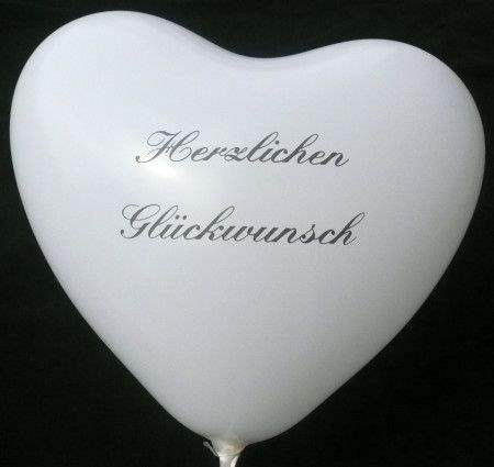 Herzballon  32cm breit - bunter MIX mit Ihrem Wunschaufdruck, 2seitig 1farbig bedruckt, Typ H032T-21, Stutzen unten