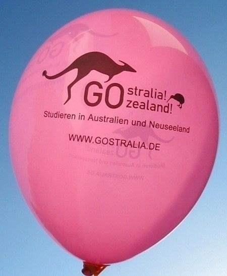 Ø 28cm PINK, 3seitig 1farbig bedruckter Werbeluftballon WR85B-31,  Ballonstutzen unten