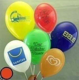 Ø 28-30cm (11inch), bunter MIX 1seitig 3farbig standard bedruckter Werbeluftballon WR110R-13, Ballonstutzen unten