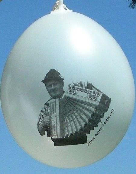 Ø 28-30cm (11inch), WEISS 2seitig 3farbig standard bedruckter Werbeluftballon WR110R-23, Ballonstutzen unten