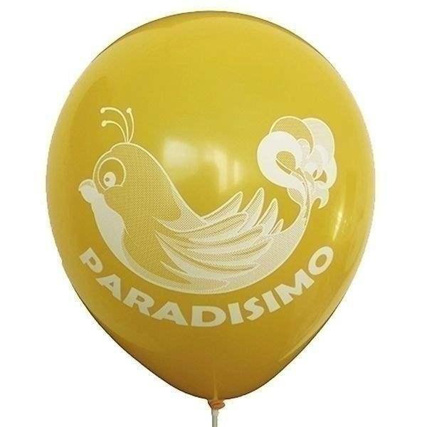 Ø 28-30cm (11inch), OCKER / SENFGELB 2seitig 3farbig standard bedruckter Werbeluftballon WR110R-23, Ballonstutzen unten