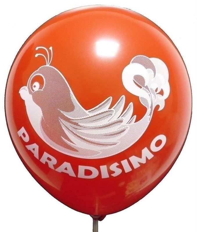 Ø 28-30cm (11inch), HELLROT 2seitig 4farbig standard bedruckter Werbeluftballon WR100R-24, Ballonstutzen unten, für Luft und Ballongasfüllung geeignet
