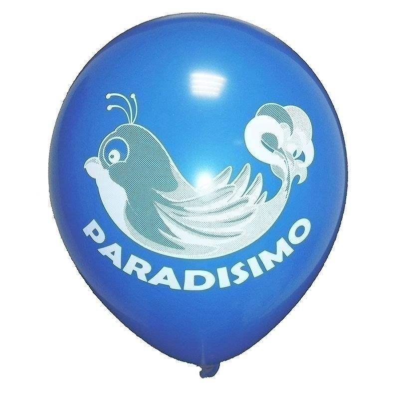 Ø 28-30cm (11inch), BLAU 2seitig 4farbig standard bedruckter Werbeluftballon WR100R-24, Ballonstutzen unten, für Luft und Ballongasfüllung geeignet