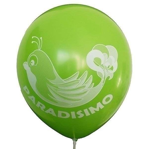 Ø 28-30cm (11inch), ZITRONENGRÜN 2seitig 4farbig standard bedruckter Werbeluftballon WR100R-24, Ballonstutzen unten, für Luft und Ballongasfüllung geeignet