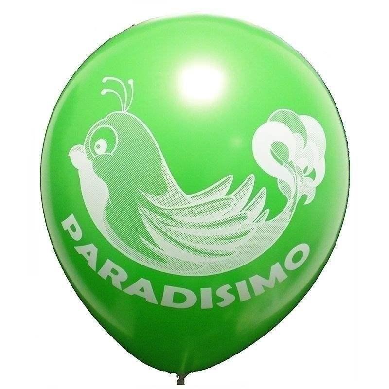 Ø 28-30cm (11inch), GRÜN 2seitig 4farbig standard bedruckter Werbeluftballon WR100R-24, Ballonstutzen unten, für Luft und Ballongasfüllung geeignet