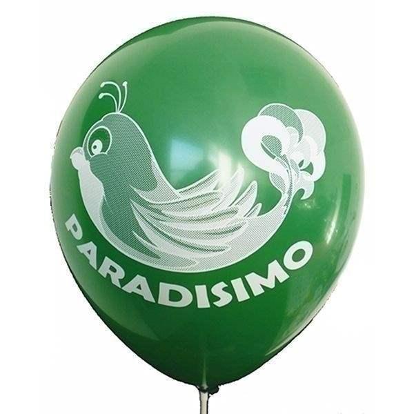Ø 28-30cm (11inch), DUNKELGRÜN 2seitig 4farbig standard bedruckter Werbeluftballon WR100R-24, Ballonstutzen unten, für Luft und Ballongasfüllung geeignet