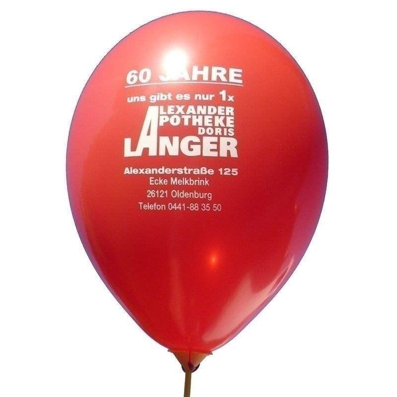 Ø 28-30cm (11inch), DUNKELROT 2seitig 4farbig standard bedruckter Werbeluftballon WR100R-24, Ballonstutzen unten, für Luft und Ballongasfüllung geeignet