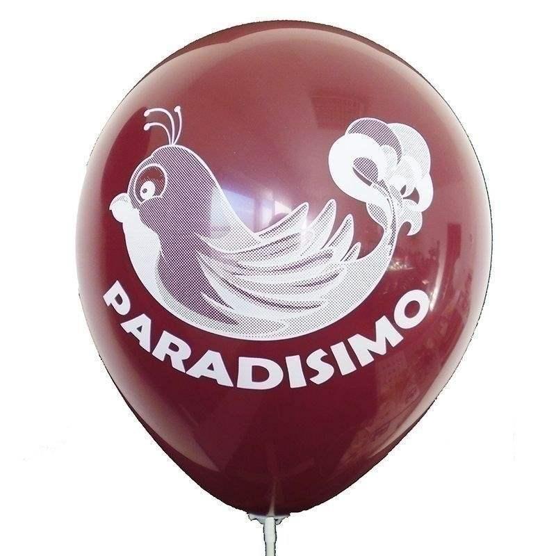 Ø 28-30cm (11inch), BURGUND 2seitig 4farbig standard bedruckter Werbeluftballon WR100R-24, Ballonstutzen unten, für Luft und Ballongasfüllung geeignet