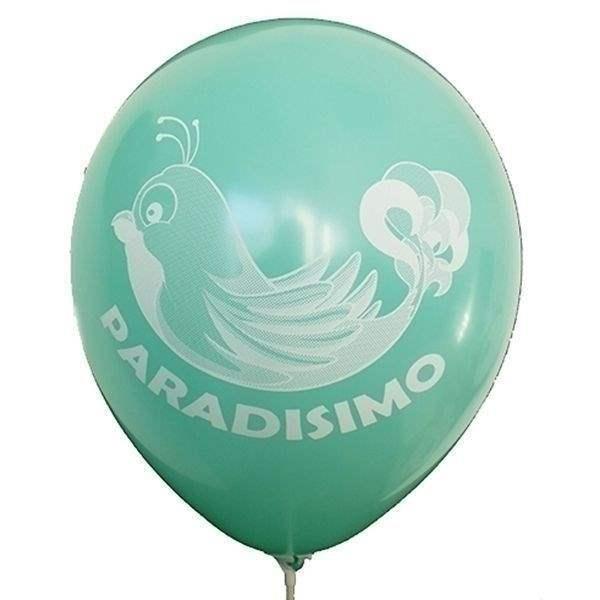 Ø 28-30cm (11inch), WASSERGRÜN 1seitig 4farbig standard bedruckter Werbeluftballon WR100R-14, Ballonstutzen unten, für Luft und Ballongasfüllung geeignet