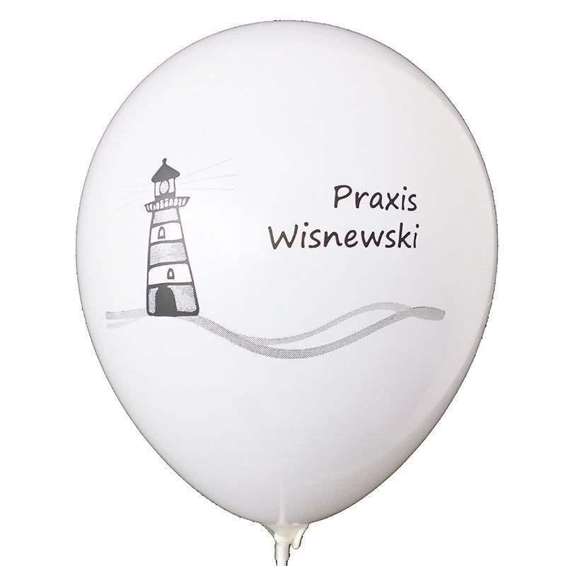 Ø 33cm (12inch) WEISS, 2seitig - 1farbig bedruckter Werbeluftballon WR100-21T, Ballonstutzen unten