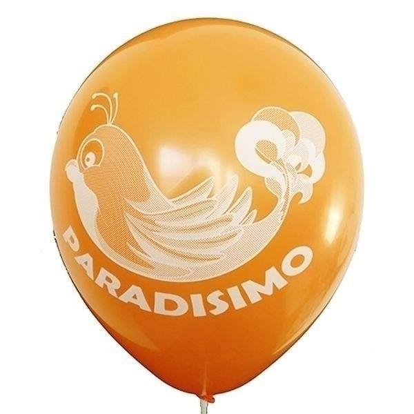 Ø 33cm (12inch) ORANGE, 2seitig - 1farbig bedruckter Werbeluftballon WR100-21T, Ballonstutzen unten