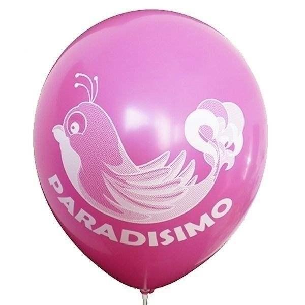 Ø 33cm (12inch) MAGENTA, 2seitig - 1farbig bedruckter Werbeluftballon WR100-21T, Ballonstutzen unten