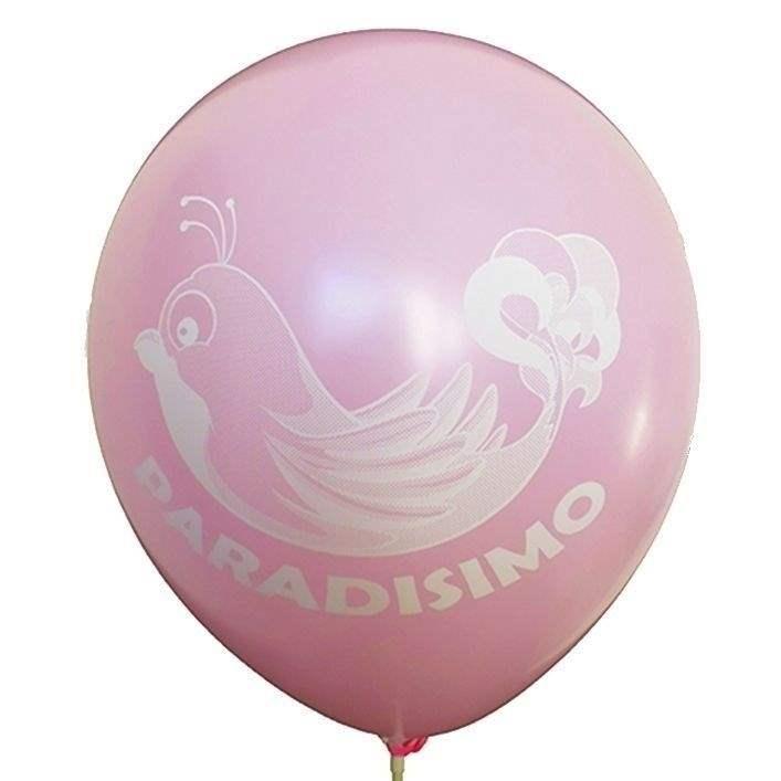 Ø 33cm (12inch) ROSA 2seitig - 1farbig bedruckter Werbeluftballon WR100-21T, Ballonstutzen unten