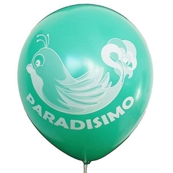 Ø 33cm (12inch) JADEGRÜN, 2seitig - 1farbig bedruckter Werbeluftballon WR100-21T, Ballonstutzen unten