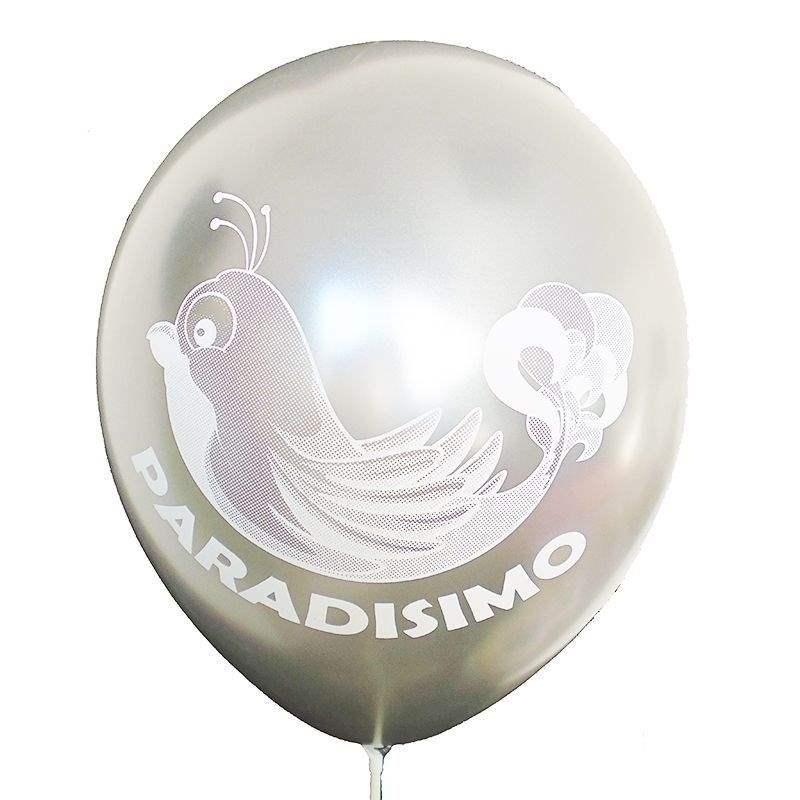 Ø 33cm (12inch) PERLWEISS, 1seitig 1farbig bedruckter Werbeluftballon WR100T-11, Ballonstutzen unten
