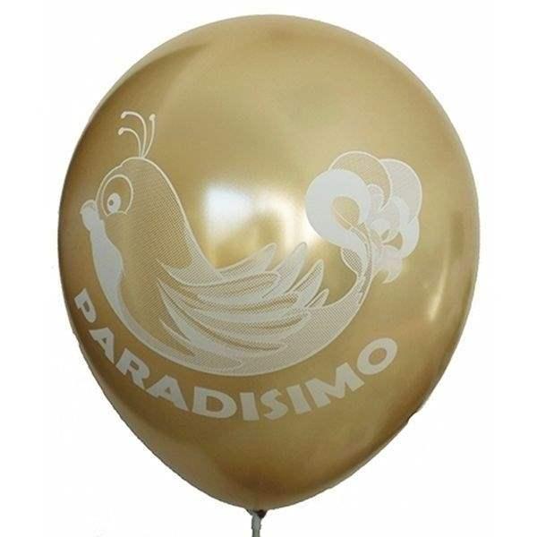 Ø 33cm (12inch) GOLD, 2seitig - 1farbig bedruckter Werbeluftballon WR100-21T, Ballonstutzen unten