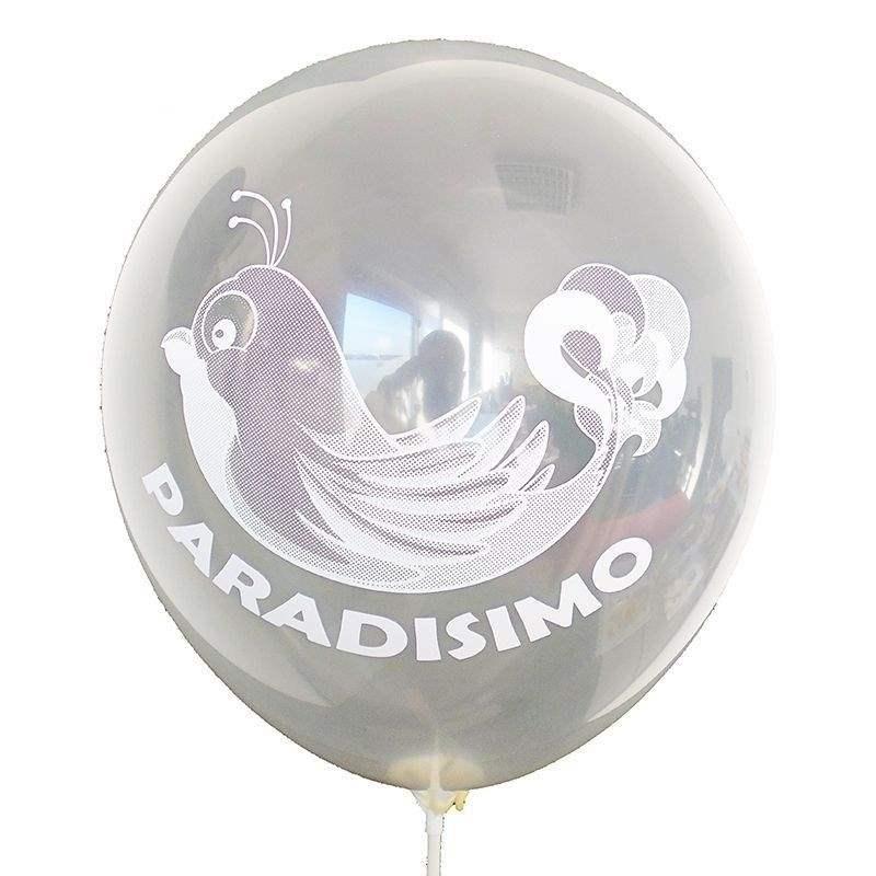Ø 33cm (12inch) TRANSPARENT, 1seitig 1farbig bedruckter Werbeluftballon WR100T-11, Ballonstutzen unten