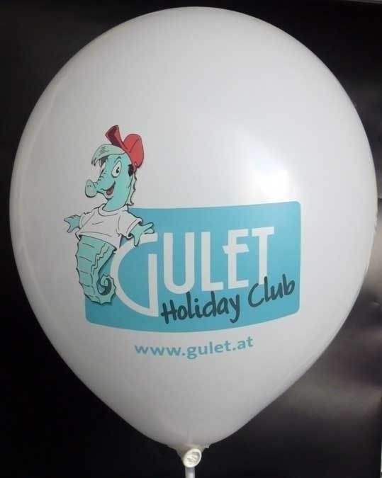 """Ø 33cm ROT, 1seitig - 8 farbig bedruckter Werbeluftballon WR100T-18 PD, Ballonstutzen unten, Druck """" passgenau"""""""