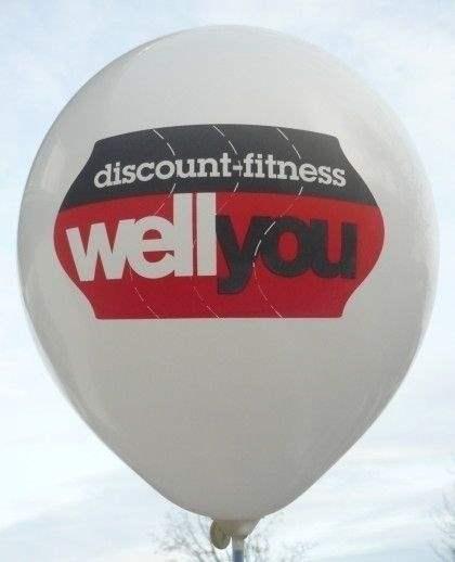 "Ø 33cm BLAU, 1seitig - 8 farbig bedruckter Werbeluftballon WR100T-18 PD, Ballonstutzen unten, Druck "" passgenau"""