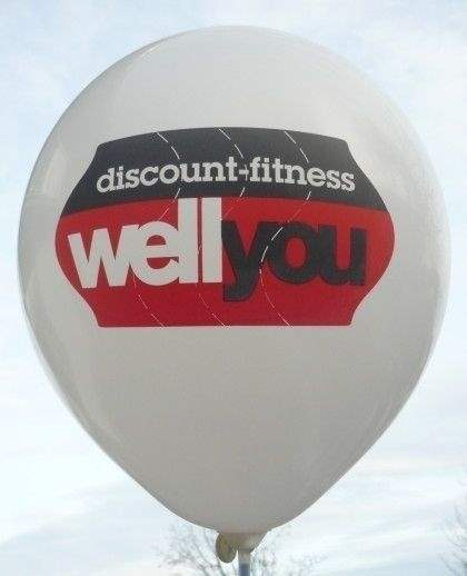 "Ø 33cm KÖNIGSBLAU, 1seitig - 8 farbig bedruckter Werbeluftballon WR100T-18 PD, Ballonstutzen unten, Druck "" passgenau"""