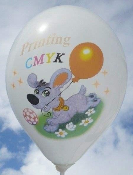 """Ø 33cm PERLWEISS, 1seitig - 8 farbig bedruckter Werbeluftballon WR100T-18 PD, Ballonstutzen unten, Druck """" passgenau"""""""