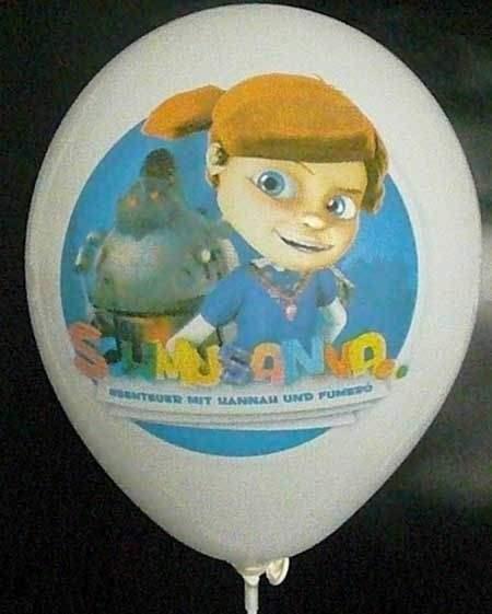 """Ø 33cm PERLWEISS, 1seitig - CMYK bedruckter Werbeluftballon WR100T-1CMYK, Ballonstutzen unten, Druck """" passgenau"""""""