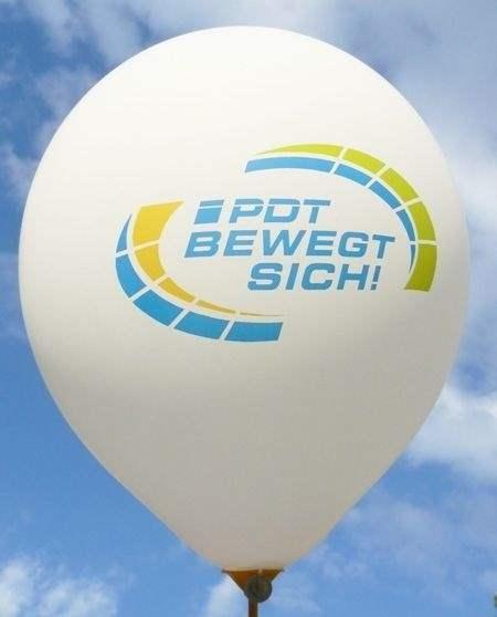 """Ø 33cm  WEISS, 1seitig - 5farbig bedruckter Werbeluftballon WR100T-15PD, Ballonstutzen unten, Druck """" passgenau"""""""