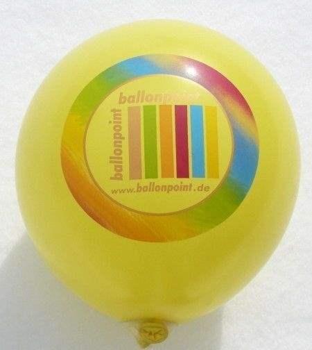 """Ø 33cm Ballonfarbe nach Auswahl """" passgenau """" individuell bedruckt mit 1seitigem 6farbiger Aufdruck in Siebdrucktechnik, Ballonstutzen unten, Druck  """" passgenau """""""