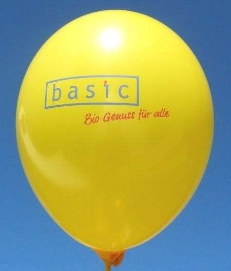 """Ø 28/35cm 1-4seitig 2farbiger standard Druck - Ballonstutzen unten bzw oben, WR85/100B-12-42 individueller Werbeluftballon, Druck <br>"""" nicht passgenau """"</b>"""