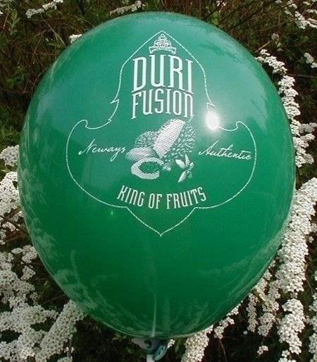 Ø 35cm ZITRONEN GRÜN, 3seitig - 1farbig bedruckter Werbeballon WR100B-31, Ballonstutzen unten