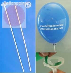 ZP40 Ballontragestab zweiteilig in weiss, Einheit zu 100 Stk für Ballongrößen Ø 24cm bis Ø 43cm,